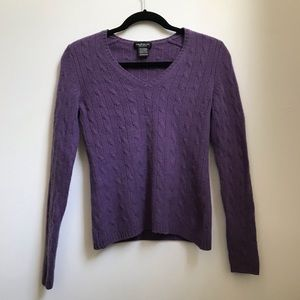 Lord & Taylor Purple V-Neck Cashmere Sweater